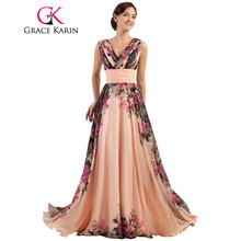 Grace Karin Sexy Backless Flower Long Evening Dress Deep V Neck Floral Formal Dresses Chiffon Robe De Soiree Party Gowns 2017(China (Mainland))