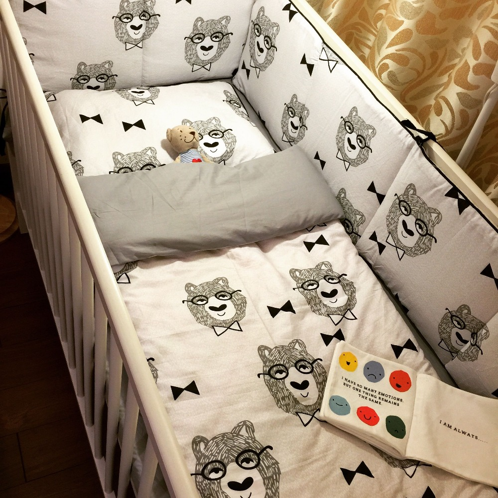 Nordic 7 Piece cotton baby crib bedding set with bumper, quilt cover, pillow case and flat sheet<br><br>Aliexpress