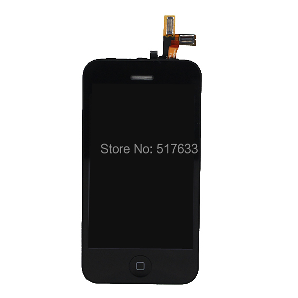 Black LCD display+Touch Screen Digitizer+Home Button+Frame+ Front Camera full Assembly for Iphone 3GS Replacements,free shipping(China (Mainland))