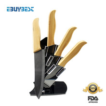 "Five-piece ceramic knife set 3"" 4"" 5"" 6"" inch Black Blade + Holder /covers environmental Bamboo Handle kitchen knives chef knife(China (Mainland))"
