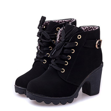 High Quality Women Boots women winter boots High Quality Solid Lace-up Ladies PU Fashion shoes woman ankle boots  with gift