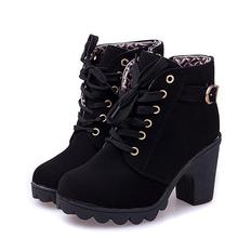 Alta calidad mujeres botas de mujer botas de invierno alta calidad sólida con cordones para mujer de la PU moda zapatos botas de mujer de tobillo con el regalo
