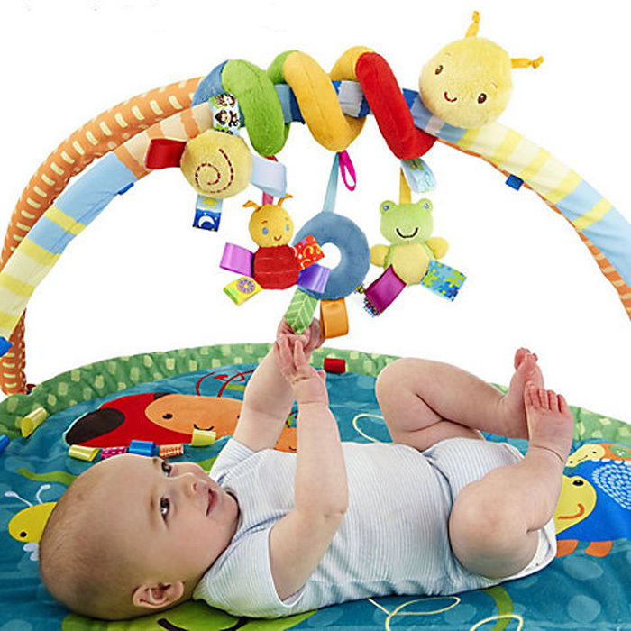 Baby Toy Crib Car Bed Seat Spiral Hanging Decoration Toy Ring Bell Baby Rattle Educational(China (Mainland))