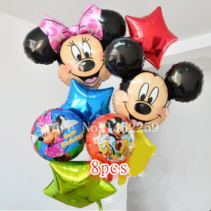 Free shipping 8pcs lots Foil Balloons Set Mickey Minnie children s toys wholesale party balloon birthday