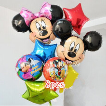 Free shipping 8pcs / lots Foil Balloons Set Mickey Minnie children's toys wholesale party balloon birthday decoration pentagram