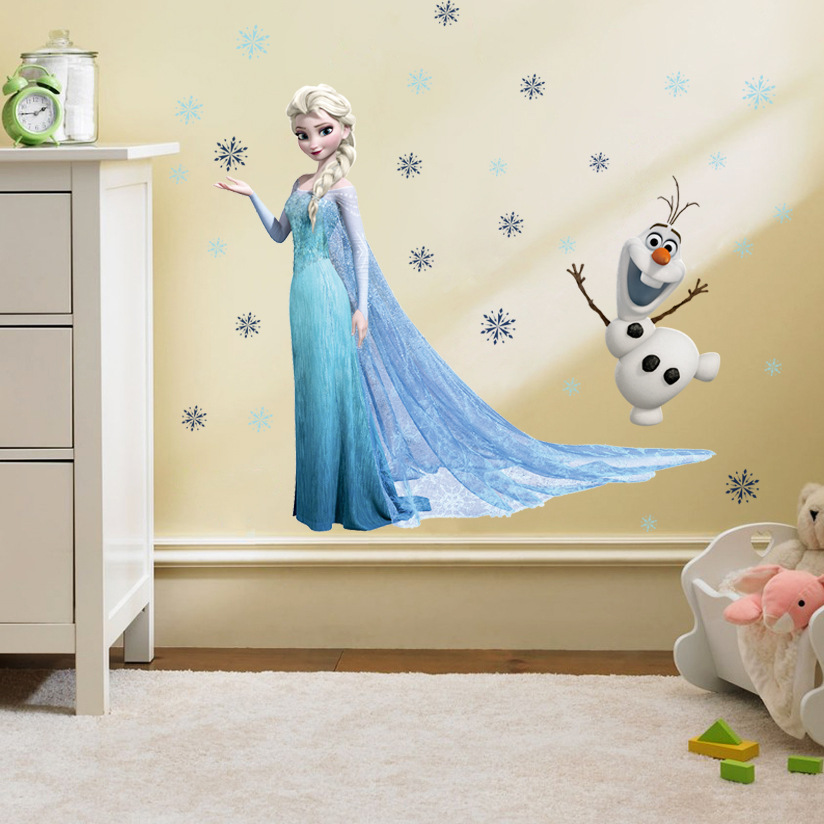 3D DIY cartoon Elsa Snow Queen kids PVC Wall Decals/Adhesive Wall Stickers Mural Art Home Decor children bedroom birthday gift(China (Mainland))