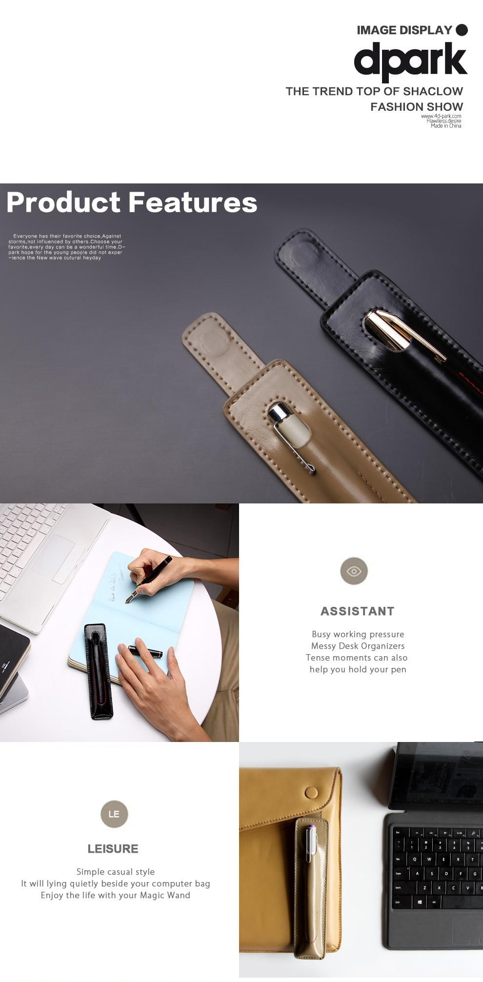 D-park Genuine Leather Single Pen Case for Microsoft Surface Pro 3