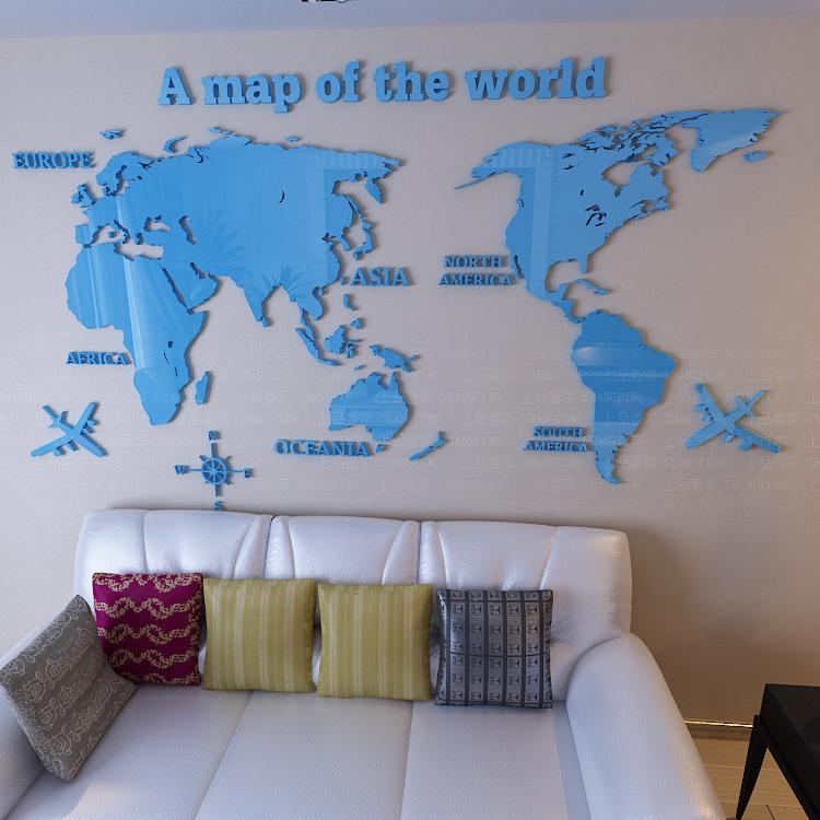 карты мира 3D кристалл акриловые трехмерные стикеры стены украшения стены предпосылки софы телевидения стены офиса
