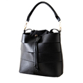 Chic Cutout 2016 Trendy New Bucket Bag Ladies Solid Color Stripe Simple Drawstring Hand Bag Women
