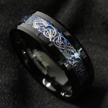 Free Shipping ! New For 8Mm Blue Black Silvering Dragon Tungsten Carbide Ring Mens Jewelry(China (Mainland))