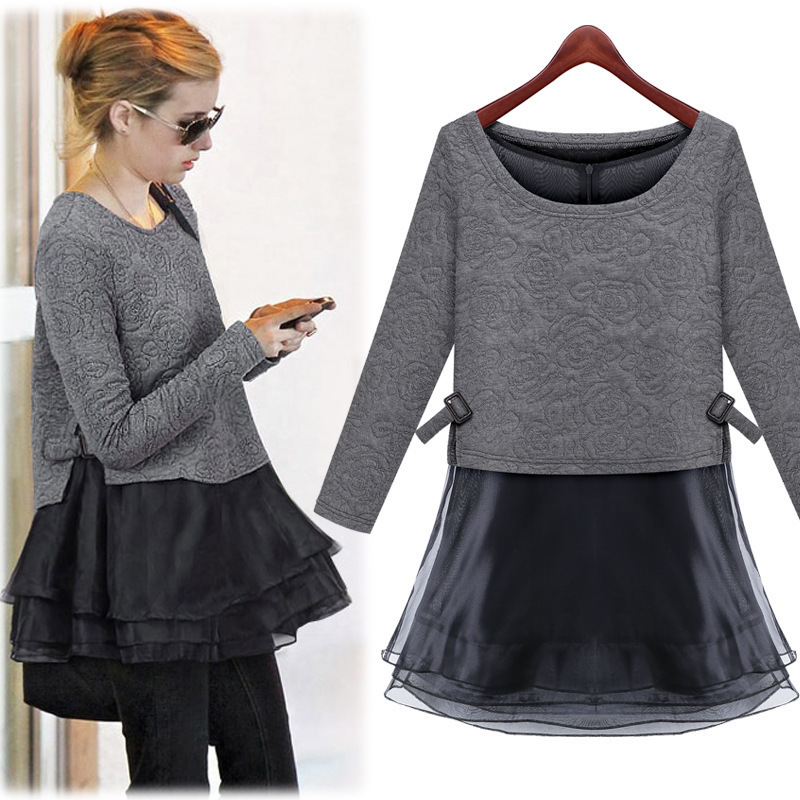 2015 Spring New Arrival Fashion Women Dresses 2 Pieces Sets Tops And Dresses Korean Style Ladies