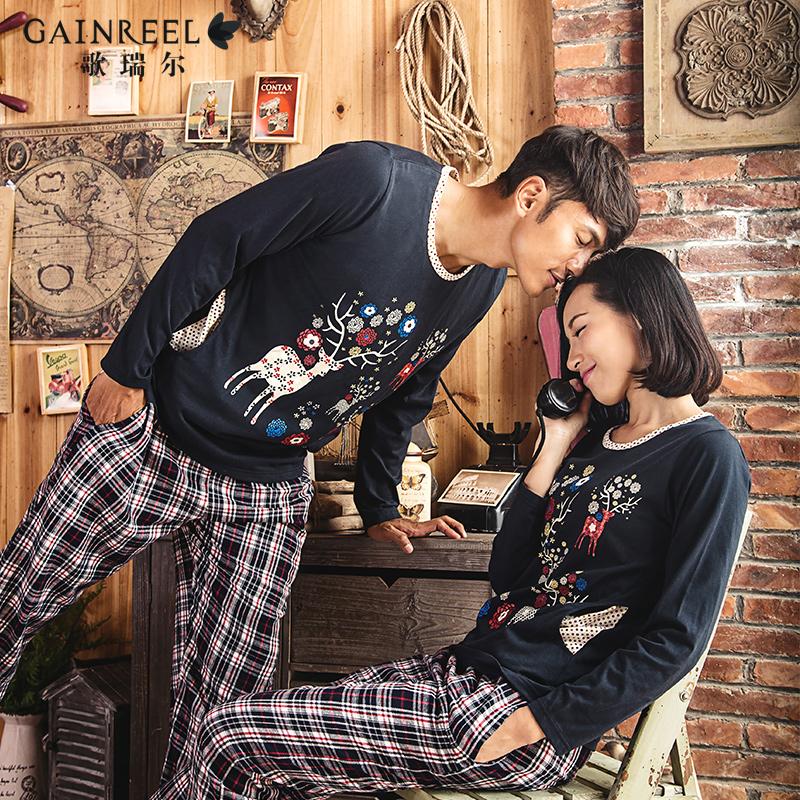 Ms male song Riel autumn fashion plaid long sleeved cotton pajamas casual tracksuit Couple Set wonderful