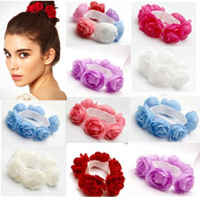 New 2014 Flower Bun Garland Floral Head Knot Hair Top Scrunchie Band Elastic Bridal