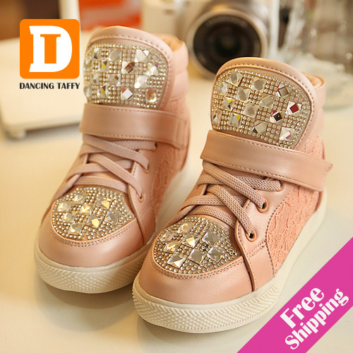 New 2014 Autumn & Winter Fashion Children Shoes Casual Children Sneakers Crystal Kids Shoes Diamond Shining Kids Boots For Girls(China (Mainland))