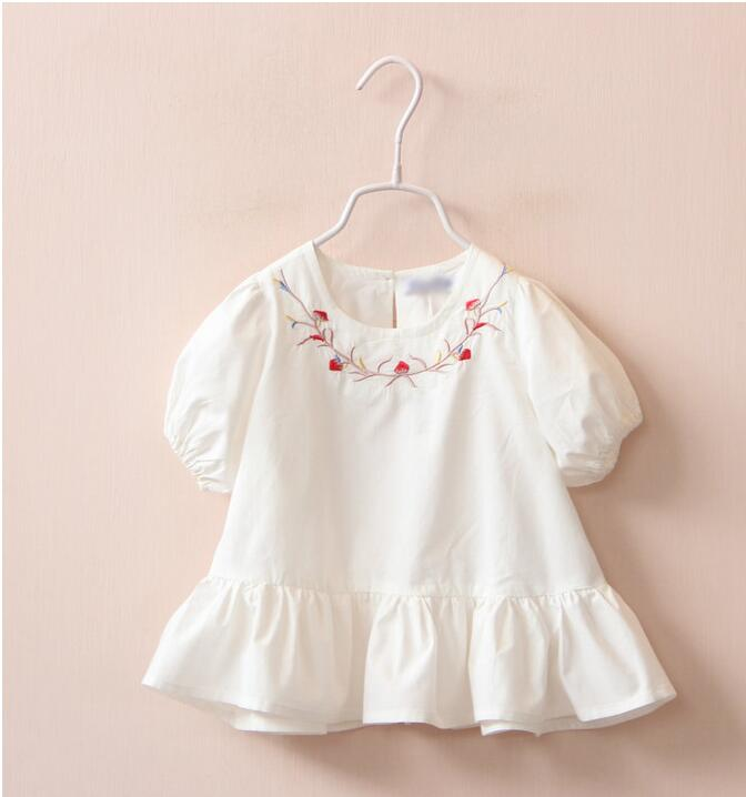 1588031 Wholesale 2016 Summer Fashion Baby Girls Tops Embroidery Flowers Toddler Girls Tees Lolita Children Clothes Supplier<br><br>Aliexpress