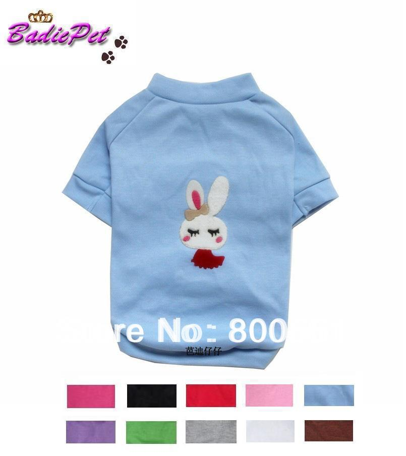 Free Shipping! Retail RABBIT Vestee Short-sleeved Dog T-shirt 10 colors 5sizes available(10% off for 2pcs)(China (Mainland))