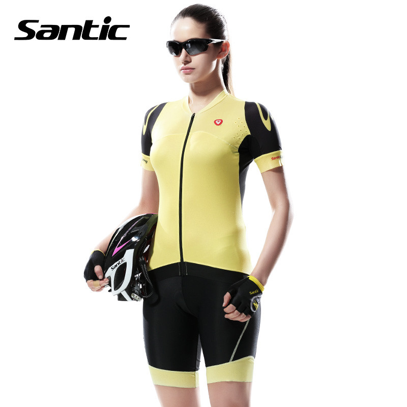 Фотография Top Quality Women Cycling Jersey Short-sleeved set Ropa Cycling Clothing Bike Bicycle Short Sleeve Ciclismo Santic Free shipping