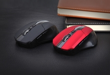 Ergonomic 2.4G Wireless Optical Mouse Mice 1600DPI for Laptop Tablet PC Black Red