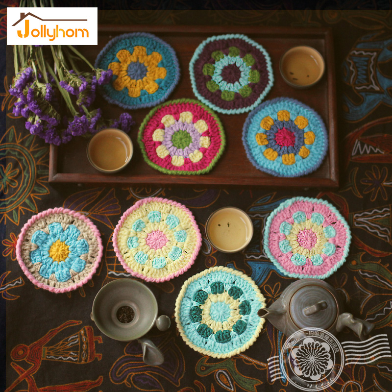 Rural Hand-knited Yarn Table Mats 4pcs/set Presents Decor for Cup table Insulation Coasters Teapot Mat Hand Work Accept Custom(China (Mainland))