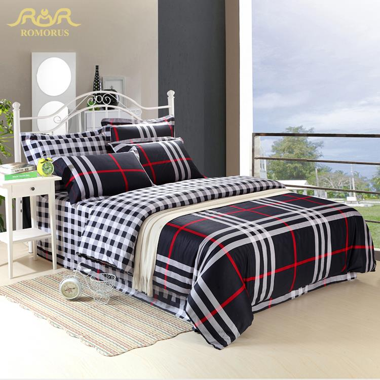 modern plaid bedding set queen king size 100 cotton duvet cover sets