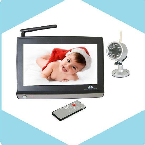 """7"""" LCD Wireless Baby Monitor and wireless Cameras Kit, with Night Vision, Free Shipping"""