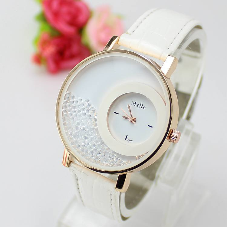 New fashion lovely quicksand quartz watch women small pointer casual watches brand big gold case wristwatches white AL0097(China (Mainland))