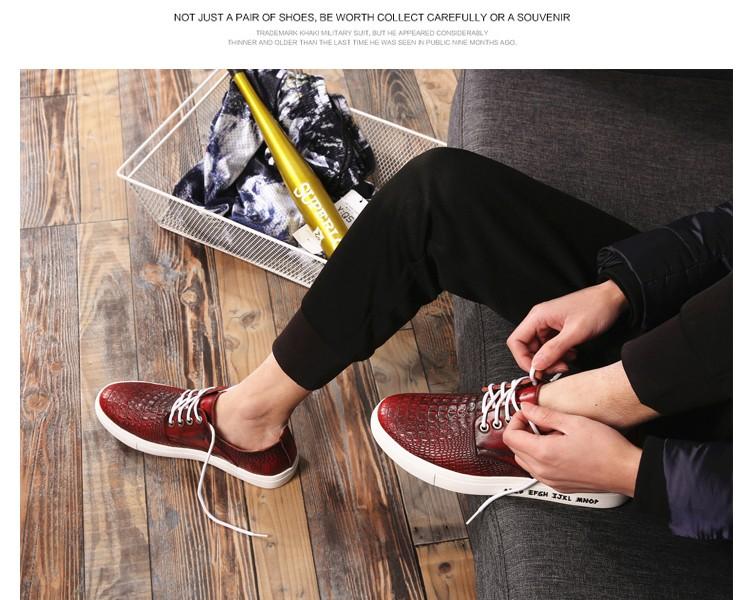 Весна Новый Крокодил Letter Pattern мужские Модные Туфли Качество Марка Натуральная Кожа Мягкие Повседневная Джентльмен Стиль burgund Красный