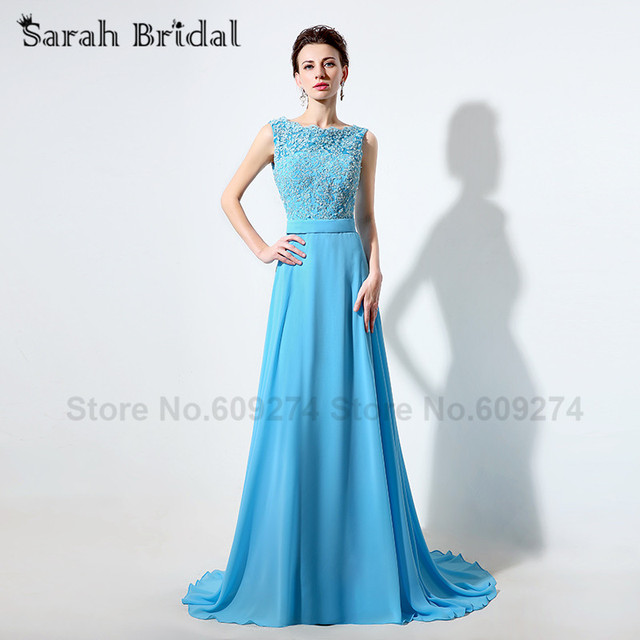 Настоящее изображения шифон кристалл платья невесты голубой длинные платья выпускного ...