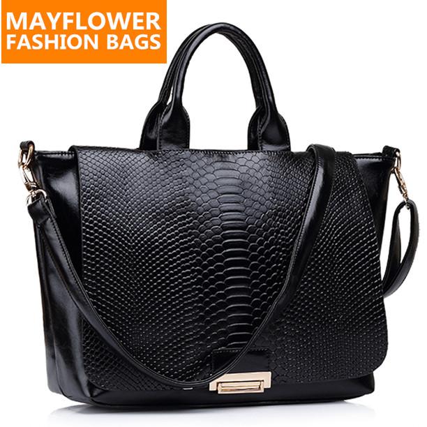 Fashion snake skin genuine leather bags women handbag designer brand high quality ladies shoulder bags bolsas femininas 2015(China (Mainland))