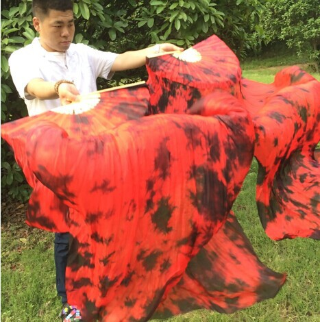 Free-shipping 100% real Chinese Silk Belly Dance Silk Fan Veils Tie-dyed color Silk Veils 1.8x0.9m size(China (Mainland))