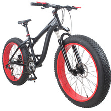 26 Inches X 4.0 SNOWBIKE, Aluminum Alloy Frame & Rim,Top Speed Control System,Black-Red Color(China (Mainland))