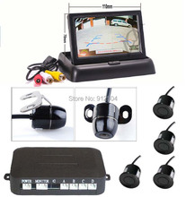 "Wholesale! 100pc/lot 4.3"" Foldable TFT  LCD Car Reverse Rearview car Security Monitor With rear view camera & parking sensor(China (Mainland))"
