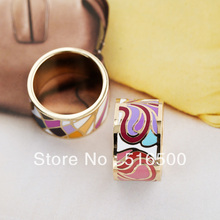 Free Shipping! Rainbow Silver Plated Enamel Jewelry Ring,1pcs/pack(China (Mainland))