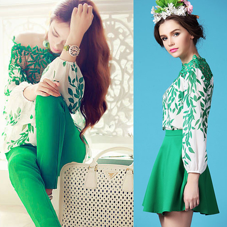 2016 Fashion New Spring Summer Women Chiffon Embroidery Hollow Out Shirt Skirt Sets OR Shirt Pants Sets Ladies Casual Green Suit(China (Mainland))