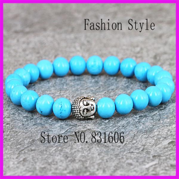 10PCS 2015 New Products 8MM Blue Turquiose stone beads Skull Elastic Buddha head Bracelets Hamsa Hand for Men and Women's Gift(China (Mainland))
