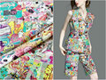 Chinese style fine silk 18mm cartoon dynamic digital printing elastic double crepe silk fabric dress shirt