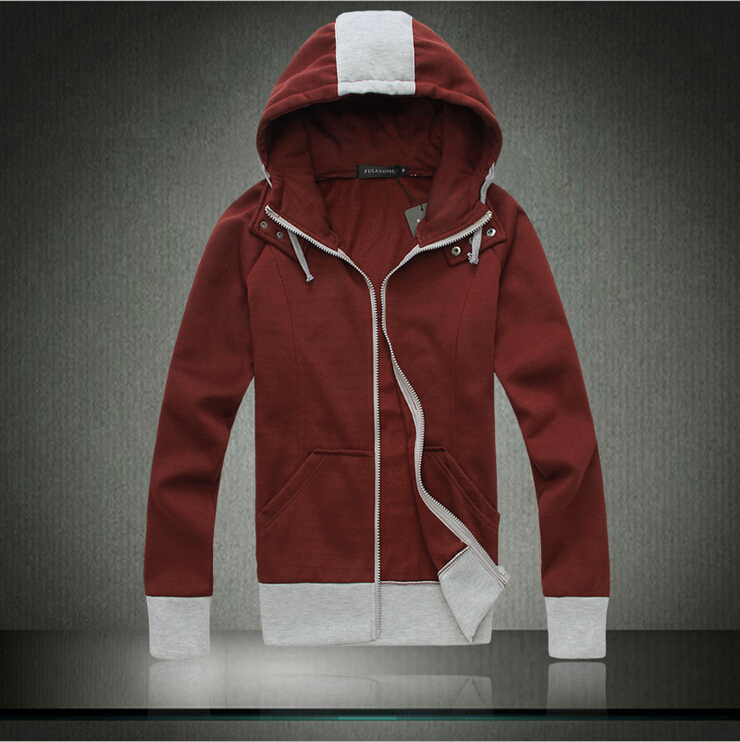 2015 New Hot Men's Spring / Autumn men's fashion hooded cardigan solid color cotton hooded jacket(China (Mainland))