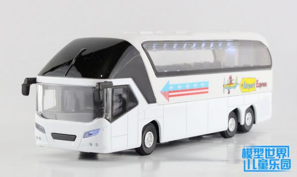 Gift for baby 1pc 19cm acousto optic deluxe coach bus alloy passenger car pull back model home decoration boy children toy(China (Mainland))