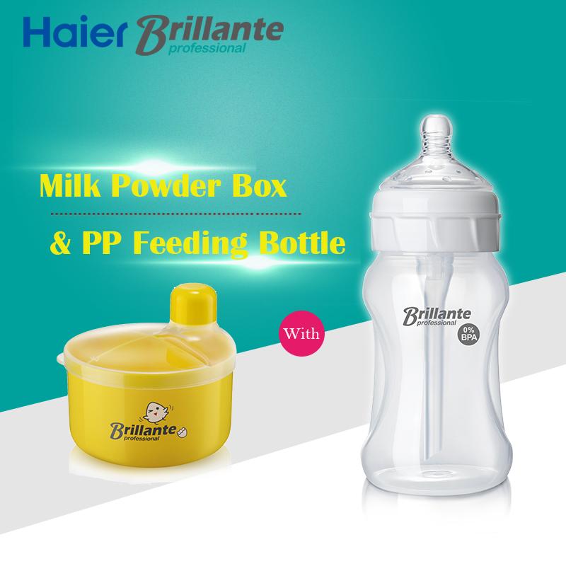 Haier Brillante BPA Free PP Feeding Bottle Original Milk Powder Storage Box Set For 6m+ Baby(China (Mainland))