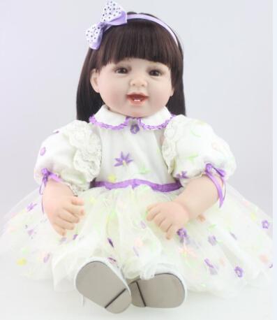 Фотография 55cm  Vinyl Baby Reborn Dolls adorable Handmade girl Kids Princess Toys Children bonecas brinquedos
