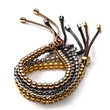 Buy 1pcs 2017 New Arrival Famous Brand men bracelet Round Bead Braiding Macrame Men Bracelet 4 colors for $1.42 in AliExpress store