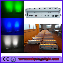 Free shipping+4lights Wholesales Price 6*18W 6in1 RGBW+UV Battery Wireless Led Wall Washer Light DMX512 Battery Led Bar Light(China (Mainland))