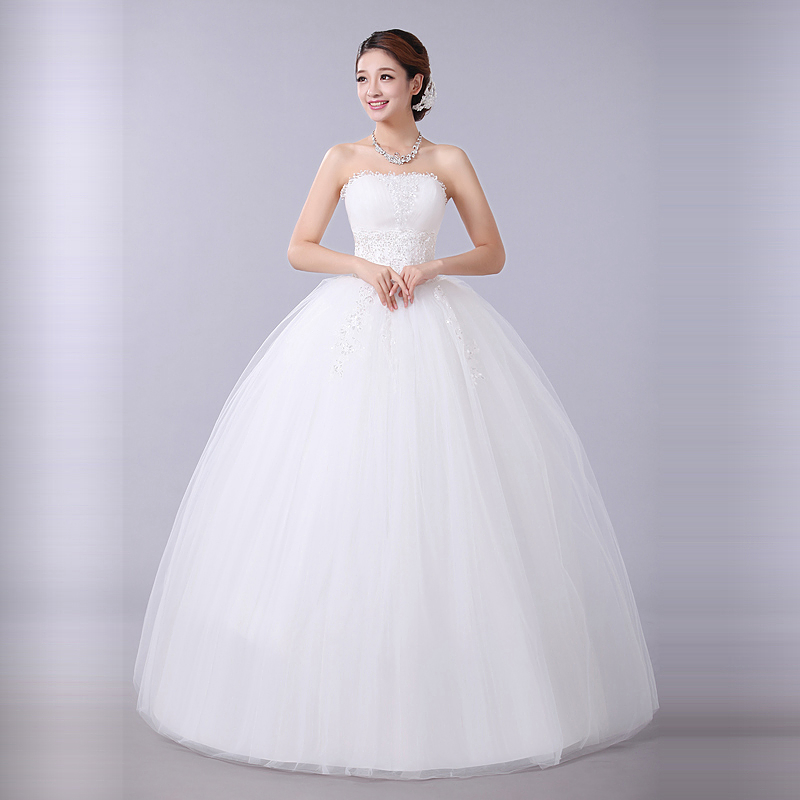 Princess bridal gowns flower tube top wedding dresses for Marry me wedding dresses