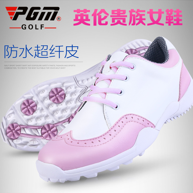 New PGM golf shoes ladies fashion British style imported microfiber leather waterproof sports sneakers freeshipping(China (Mainland))