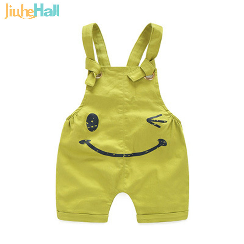 4 Colors Summer Children's Overalls Fashion Toddlers Smile and Letter Print Jumpsuits Eco-Friendly Fabrics Shorts For Kid CMB305(China (Mainland))