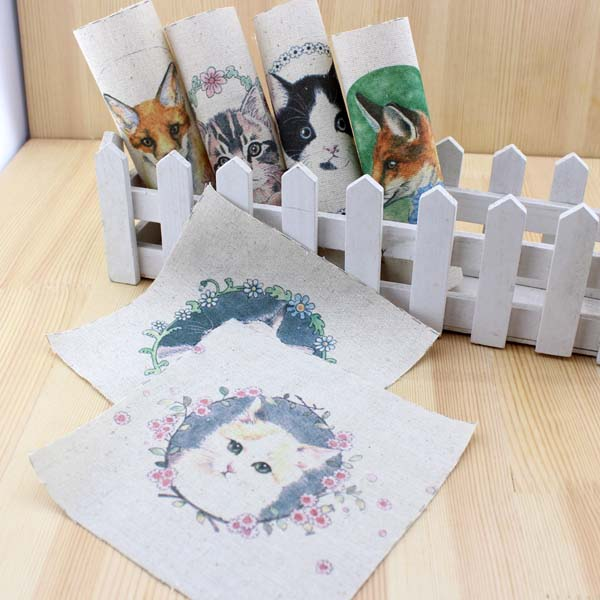 cartoon cat diy felt linen cotton fabric cloth dolls for sewing patterns crafts printed material patchwork textile tissu fabric(China (Mainland))