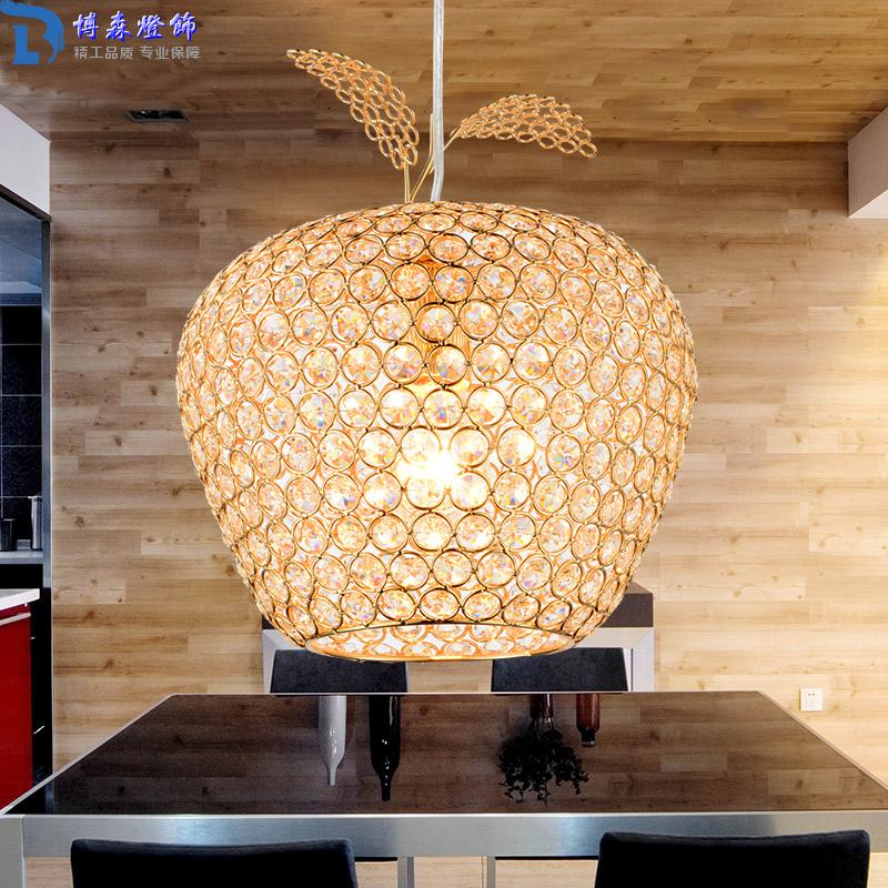 New Creative Crystal Apple Pendant Lamp Gold Lampshade Abajur Restaurant Hanglamp Light E27 Home Decor 110V 220V Modern Lighting(China (Mainland))