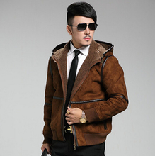 Europe and United States Air Force men's brand short section of fur suede leather hooded lambs wool casual leather jacket jacke(China (Mainland))