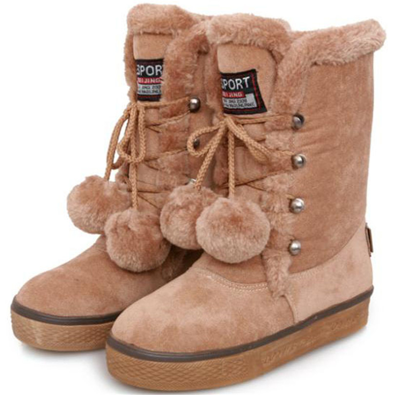 ENMAYER warm winter short plush snow boots platform comfort round toe women's boots 4 colors winter boots with ball of fur