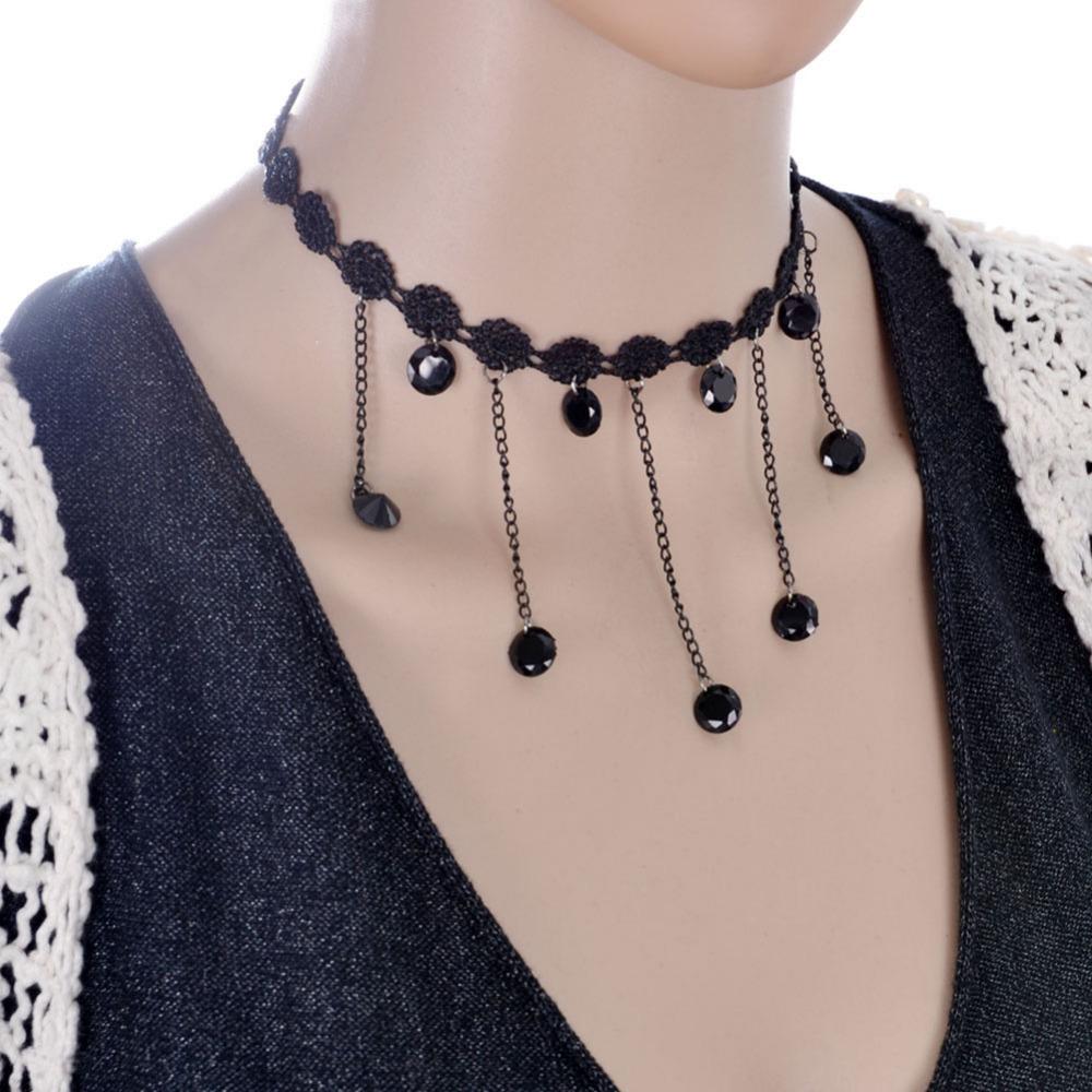 Fashion Women 2016 Vintage Handmade Retro Short Gothic Steampunk Lace Tassl Choker Necklace Jewellery Sale Wholesale(China (Mainland))